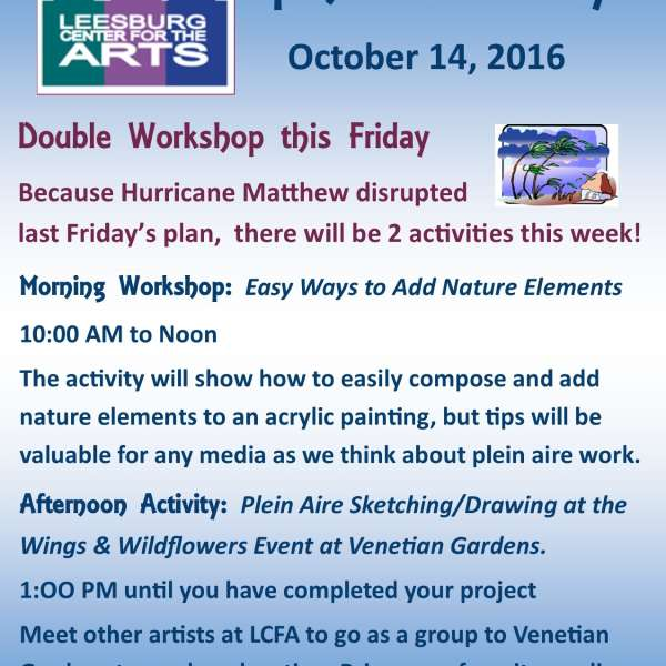 Revised Open Studio Schedule for Friday, October 14